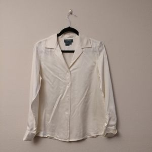 Lauren Ralph Lauren cream white silk button blouse